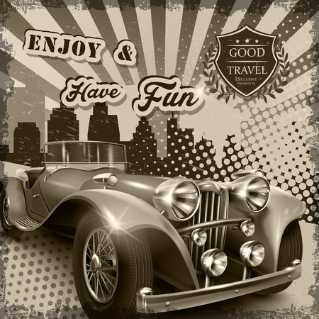 old poster: vintage advertising poster with attractive retro car Illustration