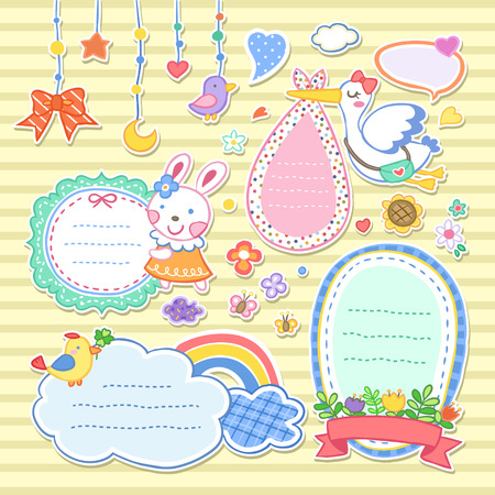 memo: adorable colorful animals memo set with floral elements Illustration
