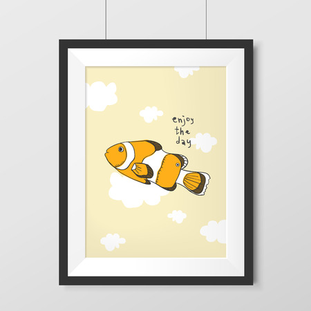 boarder: lovely tropical fish graphic hanging on the wall Illustration