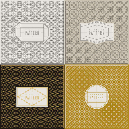 pattern vintage: vintage graceful thin line pattern collection set