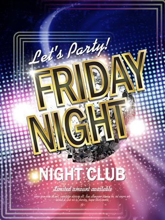 herrlich Freitag Nachtclub Poster mit Glitzer-Disco-Kugel und Laserlicht auf dem Hintergrund