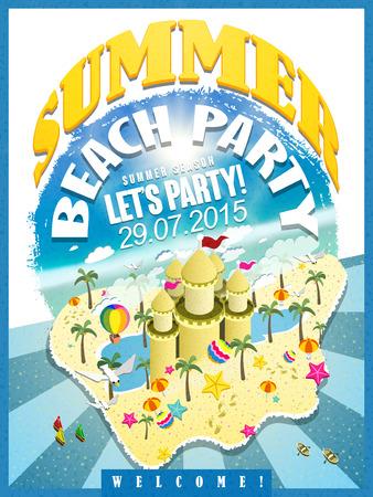 castle sand: cartel de fiesta en la playa temporada de verano con un precioso castillo de arena Vectores