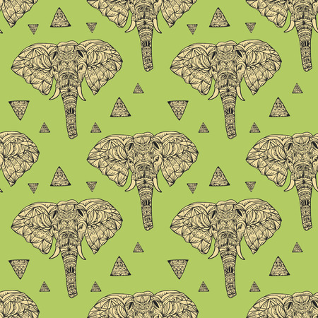 geometric style: delicate geometric style elephant seamless background with triangle elements