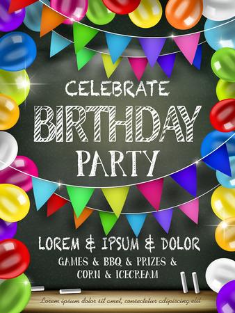 aantrekkelijk affiche verjaardag partij met kleurrijke ballonnen over krijtbord