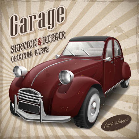 attractive retro red car in vintage advertising poster