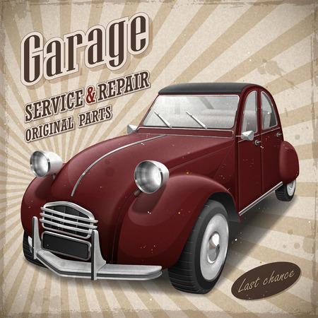 Attrayante voiture rouge rétro en affiche vintage de la publicité Banque d'images - 40716183