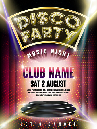 retro disco: gorgeous disco party poster with illuminated stage and laser light on the background