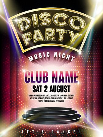 prachtige disco party poster met verlichte podium en laserlicht op de achtergrond