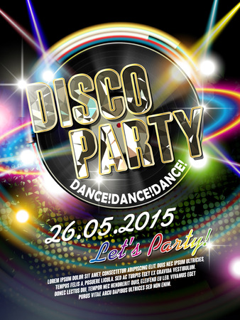 poster designs: gorgeous disco party poster with retro vinyl record and laser light on the background