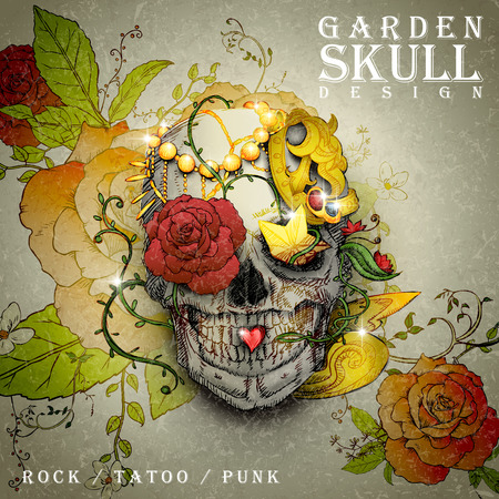 exotica: attractive garden skull design poster combined with retro floral elements Illustration