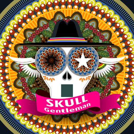 exotica: attractive Mexican skull gentleman cover design with colorful background
