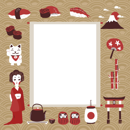 japan culture: memo with traditional Japan culture representative things in flat design Illustration