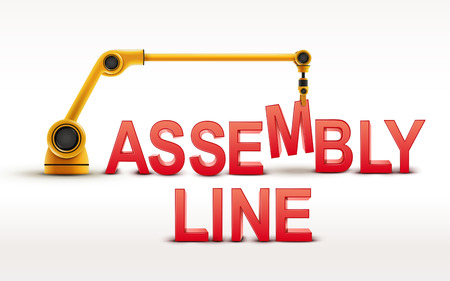 assembly line: industrial robotic arm building ASSEMBLY LINE word on white background