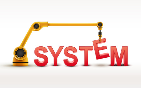 distributed: industrial robotic arm building SYSTEM word on white background Illustration