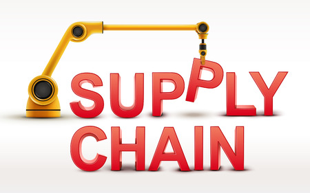 building a chain: industrial robotic arm building SUPPLY CHAIN word on white background