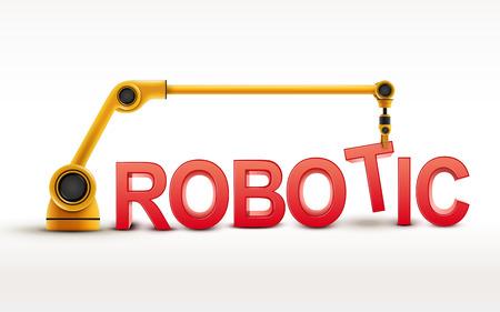 edificio brazo robótico palabra ROBÓTICA industrial en el fondo blanco Ilustración de vector