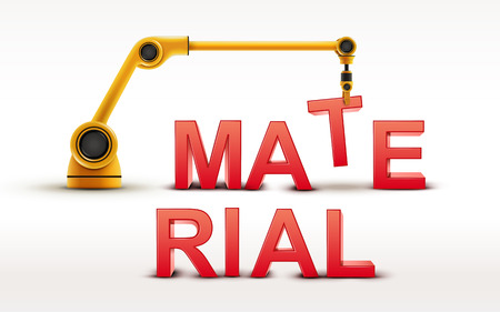 building material: industrial robotic arm building MATERIAL word on white background
