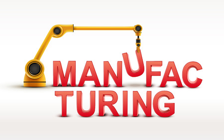 manufacturing: industrial robotic arm building MANUFACTURING word on white background