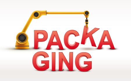 robotic: industrial robotic arm building PACKAGING word on white background Illustration
