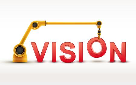 mision: industriales que construyen palabra brazo robótico VISION en el fondo blanco Vectores