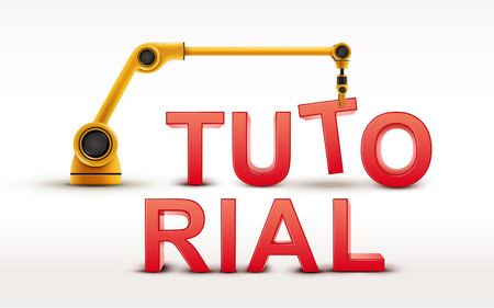computer instruction: industrial robotic arm building TUTORIAL word on white background Illustration