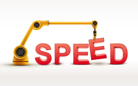 quicker: industrial robotic arm building SPEED word on white background Illustration