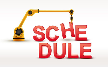 industrial robotic arm building SCHEDULE word on white background