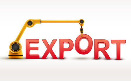industrial robotic arm building EXPORT word on white background Иллюстрация