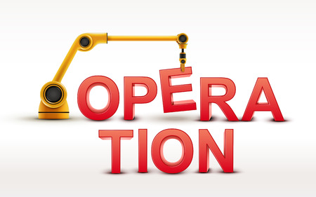 operation: industrial robotic arm building OPERATION word on white background Illustration