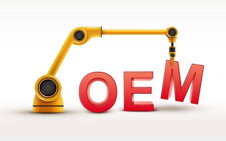 machine operator: industrial robotic arm building OEM word on white background