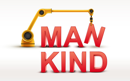 mankind: industrial robotic arm building MANKIND word on white background Illustration