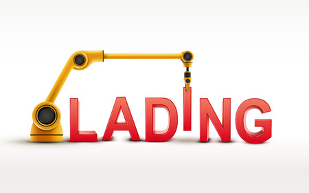 lading: industrial robotic arm building LADING word on white background Illustration