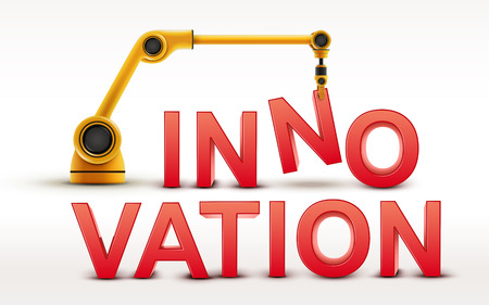innovation word: industrial robotic arm building INNOVATION word on white background Illustration