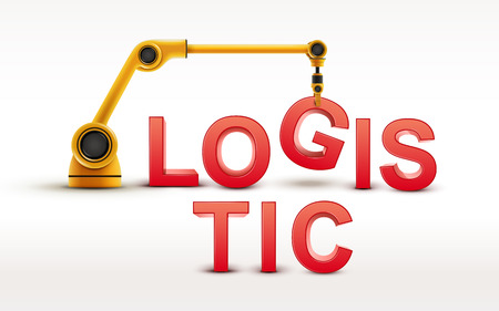 lading: industrial robotic arm building LOGISTIC word on white background