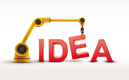 automatic machine: industrial robotic arm building IDEA word on white background