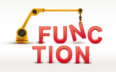 industrial robotic arm building FUNCTION word on white background Illustration