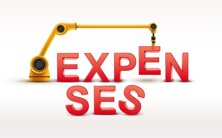 expenses: industrial robotic arm building EXPENSES word on white background Illustration