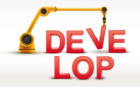 develop: industrial robotic arm building DEVELOP word on white background Illustration