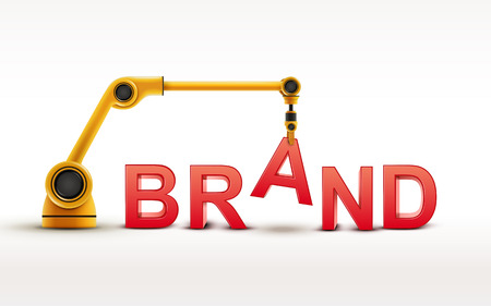 brand: industrial robotic arm building BRAND word on white background