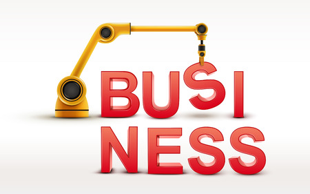 business word: industrial robotic arm building BUSINESS word on white background