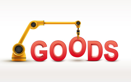 industrial robotic arm building GOODS word on white background Vector