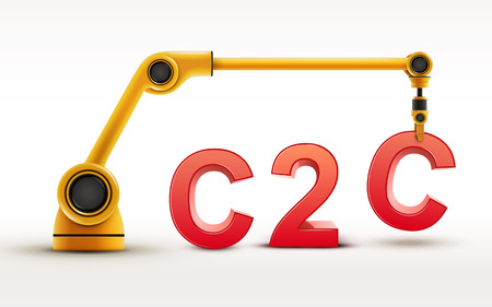end user: industrial robotic arm building C2C word on white background