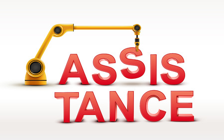 assisting: industrial robotic arm building ASSISTANCE word on white background Illustration