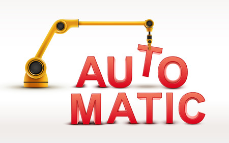 industrial robotic arm building AUTOMATIC word on white background