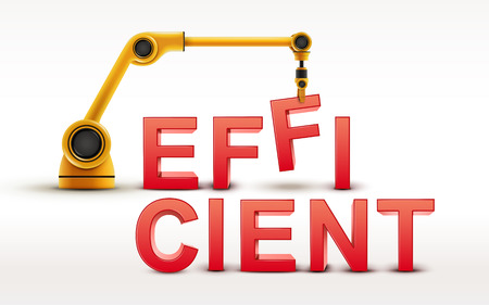 efficient: industrial robotic arm building EFFICIENT word on white background Illustration
