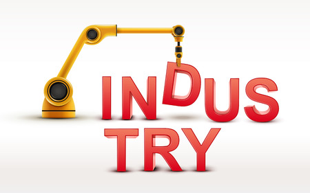 building industry: industrial robotic arm building INDUSTRY word on white background Illustration
