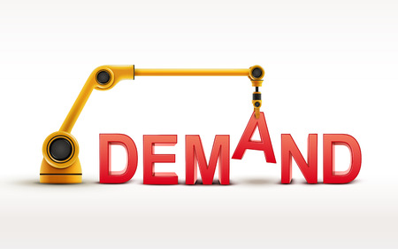 demand: industrial robotic arm building DEMAND word on white background Illustration
