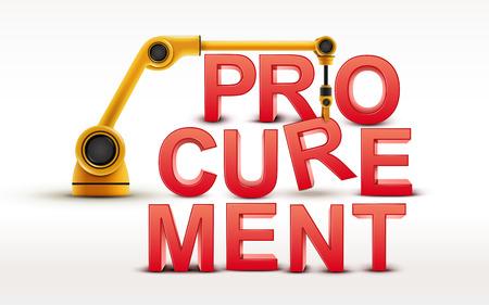 procurement: industrial robotic arm building PROCUREMENT word on white background Illustration