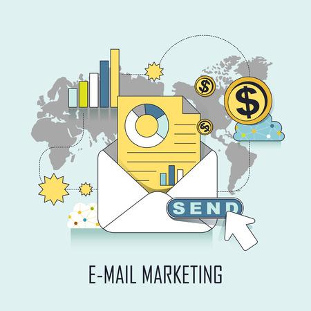 correo electronico: e-mail concepto de marketing: listo para enviar un e-mail en el estilo de línea Vectores