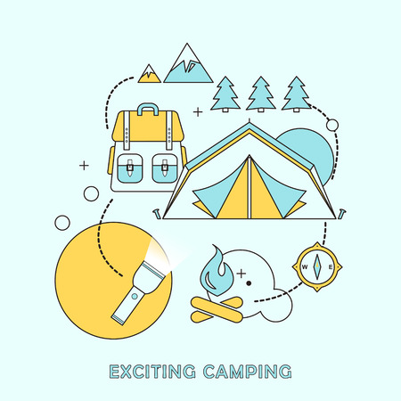 exciting: exciting camping concept in flat line style Illustration